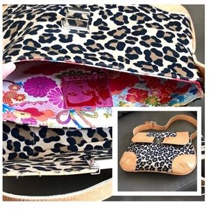 Harvey's Animal Print Leopard Bag Leather Trim